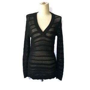 MICHAEL Michael Kors XS black crochet v neck